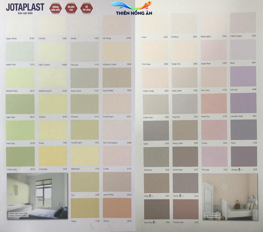 Bảng màu sơn nội thất jotaplast