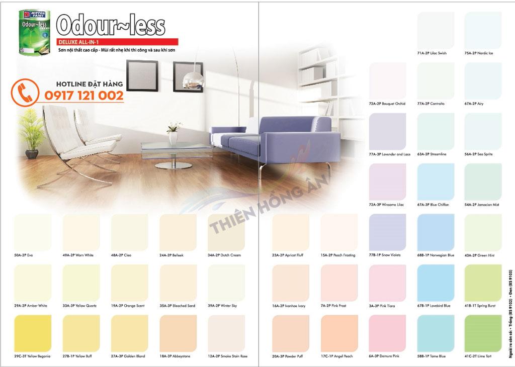 Bảng màu sơn nippon Odour-less Duluxe All-In-1: