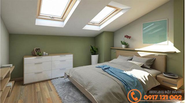 Không gian phòng ngủ ấm cúng với tông màu Essex Green (50C-4D)