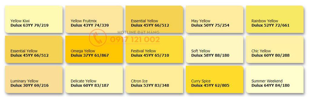 Bảng màu sơn dulux theo tone vàng